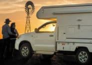 Camper at sunset