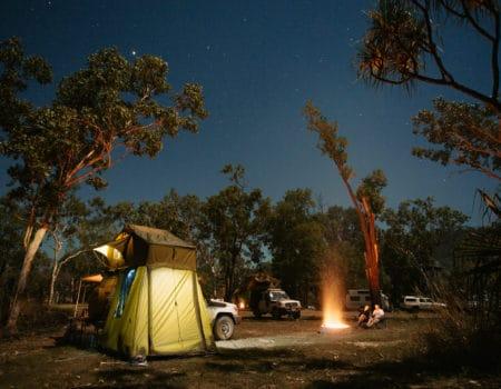 Landcruiser AU Australia Mark Clinton Image Camping Night Fire Tent Exterior